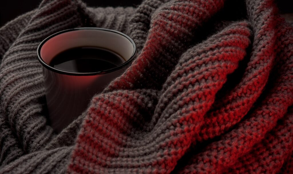 A warm cosy blanket and coffee, what's not to love?