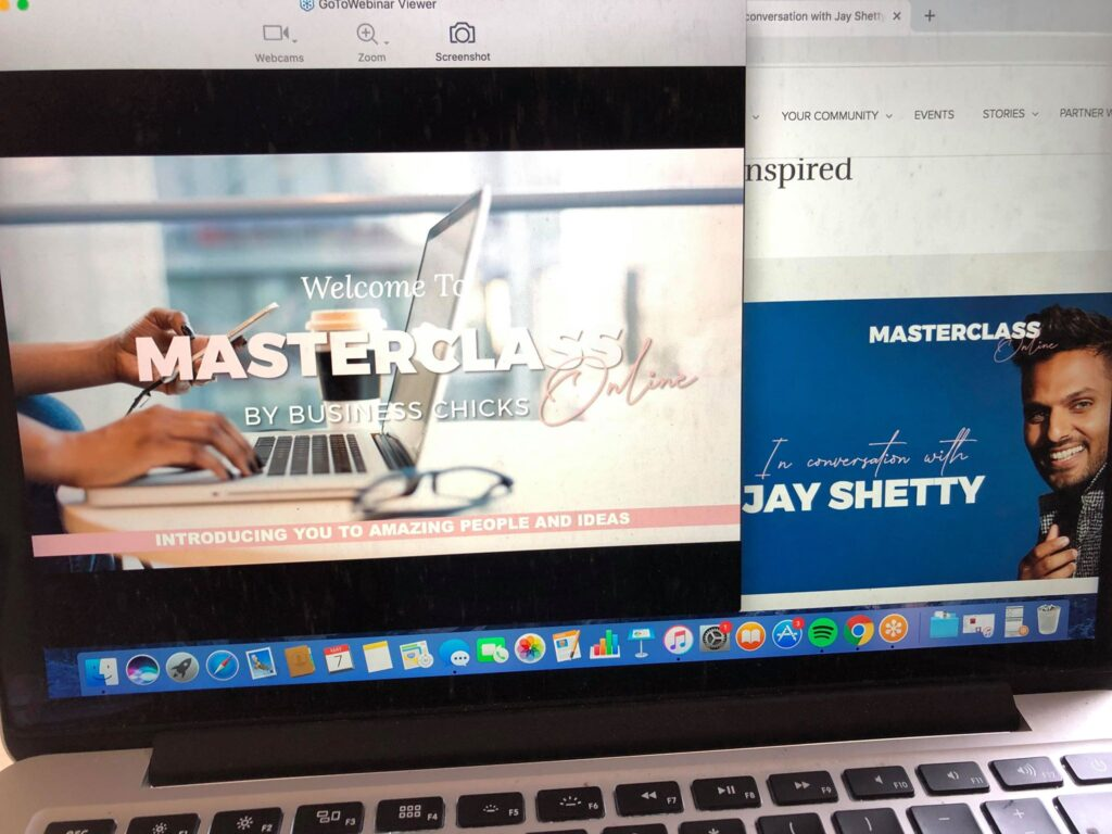 The Business Chicks Masterclass on my laptop